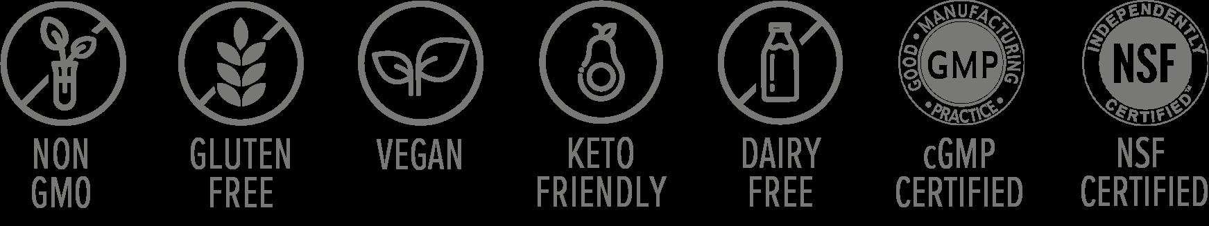 Velovita Zlēm: non gmo, glutern free, vegan, keto friendly, dairy free, cgmp free, certified nsf
